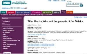 Terry Molloy Genesis Daleks RNIB Audiobook